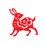 Red paper cut a rabbit zodiac symbols Stock Photography