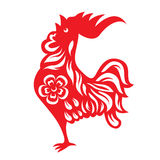 Red paper cut a rooster crows chicken zodiac symbols Royalty Free Stock Image