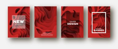 Red paper cut wave shapes. Layered curve origami design for business presentations, flyers, posters. Set of 4 vertical Stock Image