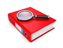 Red paper document folder with magnifier. 3d render illustration Royalty Free Stock Photography