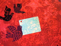 Red paper with doves. Red festive paper with doves and message label stock images