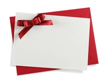 Red paper envelope. With white card isolated on white background Stock Photos