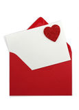 Red paper envelope with white card Stock Photography