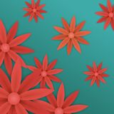 Red paper flowers on blue background Royalty Free Stock Photos