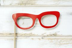 Red Paper Glasses. Hipster red glasses  in paper style.Party accessory Royalty Free Stock Images