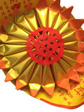 Red paper with gold color - chinese style, Isolated on white bac Stock Photo