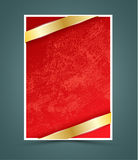 Red paper with gold ribbon. Royalty Free Stock Photos
