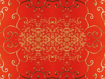 Red paper with golden ornaments Stock Images