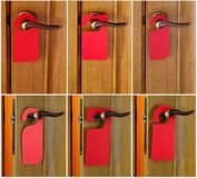 Red paper hanger. Set of Hotel door handle with red paper hanger Royalty Free Stock Photos