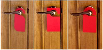 Red paper hanger. Set of Hotel door handle with red paper hanger Royalty Free Stock Image