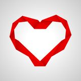 Red paper heart. Red valentine paper heart on the red background Royalty Free Stock Photo