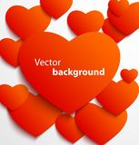 Red paper heart banner with drop shadows. On white background. Vector illustration Stock Photography