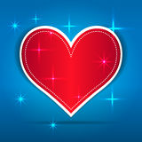Red Paper Heart on blue background Royalty Free Stock Photo