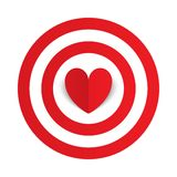 Red paper heart in the center of darts target aim Stock Photography
