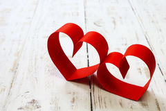Red paper heart copy space on white wood Royalty Free Stock Images