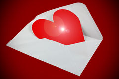 Red paper heart in envelope Royalty Free Stock Photo