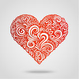 Red paper heart on gray Stock Image