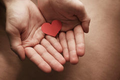 Red paper heart in hands. Card for a loved one Royalty Free Stock Photography