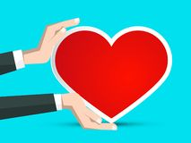 Red Paper Heart in Human Hands stock illustration