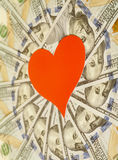 Red paper heart and hundred dollar bills Royalty Free Stock Photo