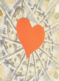 Red paper heart and hundred dollar bills  background. Red paper heart and hundred dollar bills for background Stock Images