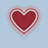 Red Paper Heart isolated on blue background Royalty Free Stock Image
