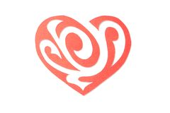 Red Paper Heart with Ornament Isolated on White Stock Images