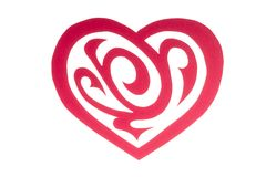 Red Paper Heart with Ornament Isolated on White Royalty Free Stock Photography