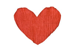 Red paper heart shape. Isolated on white stock photography