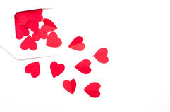 Red paper heart spilled out of the envelope Stock Photography