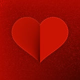 Red paper heart Valentines day card. + EPS10 Royalty Free Stock Image