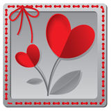 Red paper heart Valentines day card Royalty Free Stock Photo