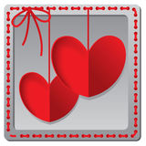 Red paper heart Valentines day card Royalty Free Stock Photos