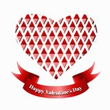 Red paper heart Valentines day card. Royalty Free Stock Image