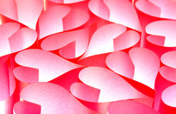 Red paper hearts background Stock Images