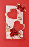 Red paper hearts and flowers wedding card. Wedding card. Red paper hearts and flowers abstract background Royalty Free Stock Photos