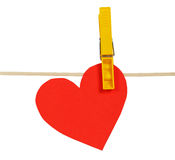 Red paper hearts on rope with clothespin Royalty Free Stock Photography