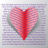 Red paper hearts Valentines day card. On grey background Royalty Free Stock Images