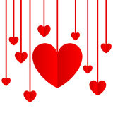 Red paper hearts Valentines day card Stock Photos