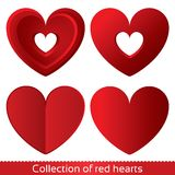 Red paper hearts. Valentines day card on white Royalty Free Stock Images