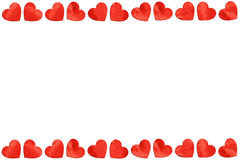 Red paper Hearts On White Background For Valentines Day.  Royalty Free Stock Photo