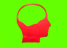 Red paper human head with hollow space Stock Image