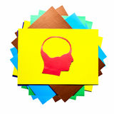 Red paper human head with hollow space. On white background Royalty Free Stock Images