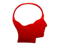 Red paper human head with hollow space. On white background Royalty Free Stock Image