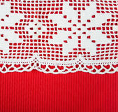 Red paper with lacy border Royalty Free Stock Images