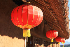 Red paper lantern on the front Stock Image