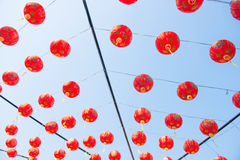 Red paper lanterns decoration Royalty Free Stock Photos
