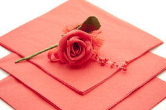 Red paper napkin Royalty Free Stock Photo