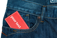 Red Paper Note In Jeans Pocket Stock Photography