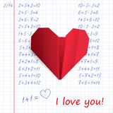 Red paper origami heart in exercise book on mathematics Stock Photos